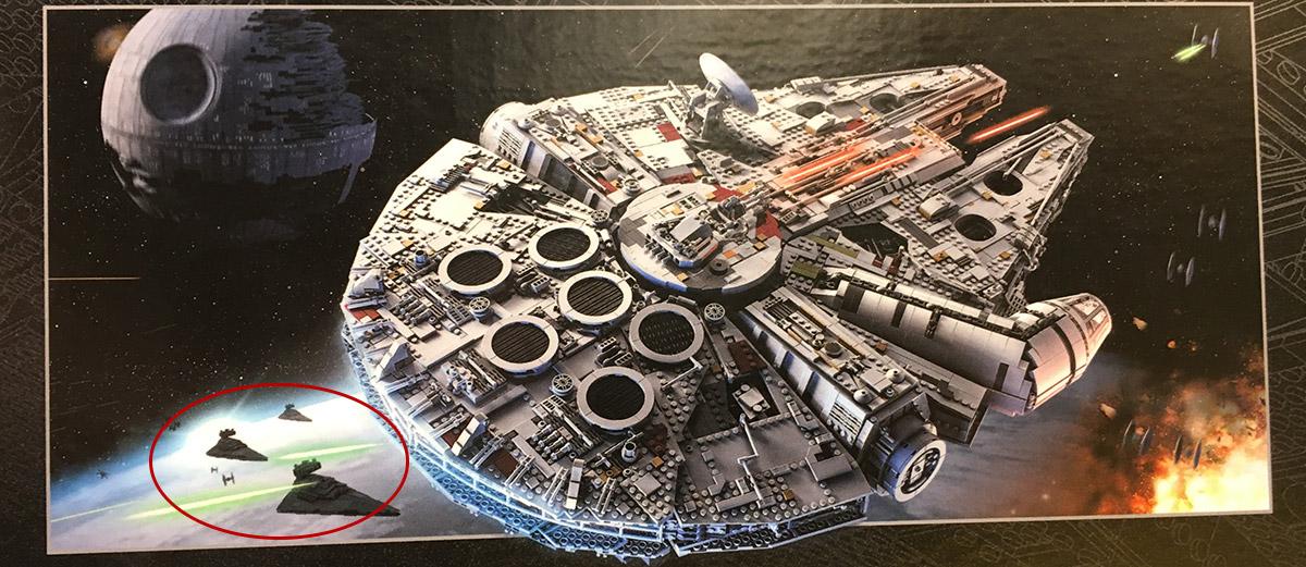 LEGO UCS 2018 Ankündigung: Sternenzerstörer auf der Verpackun des Millennium Falcon