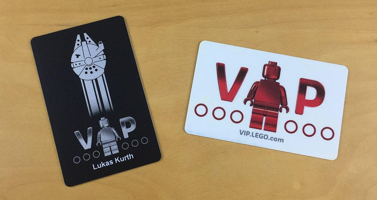 LEGO Schwarze VIP Karte im Vergleich zur normalen VIP Karte