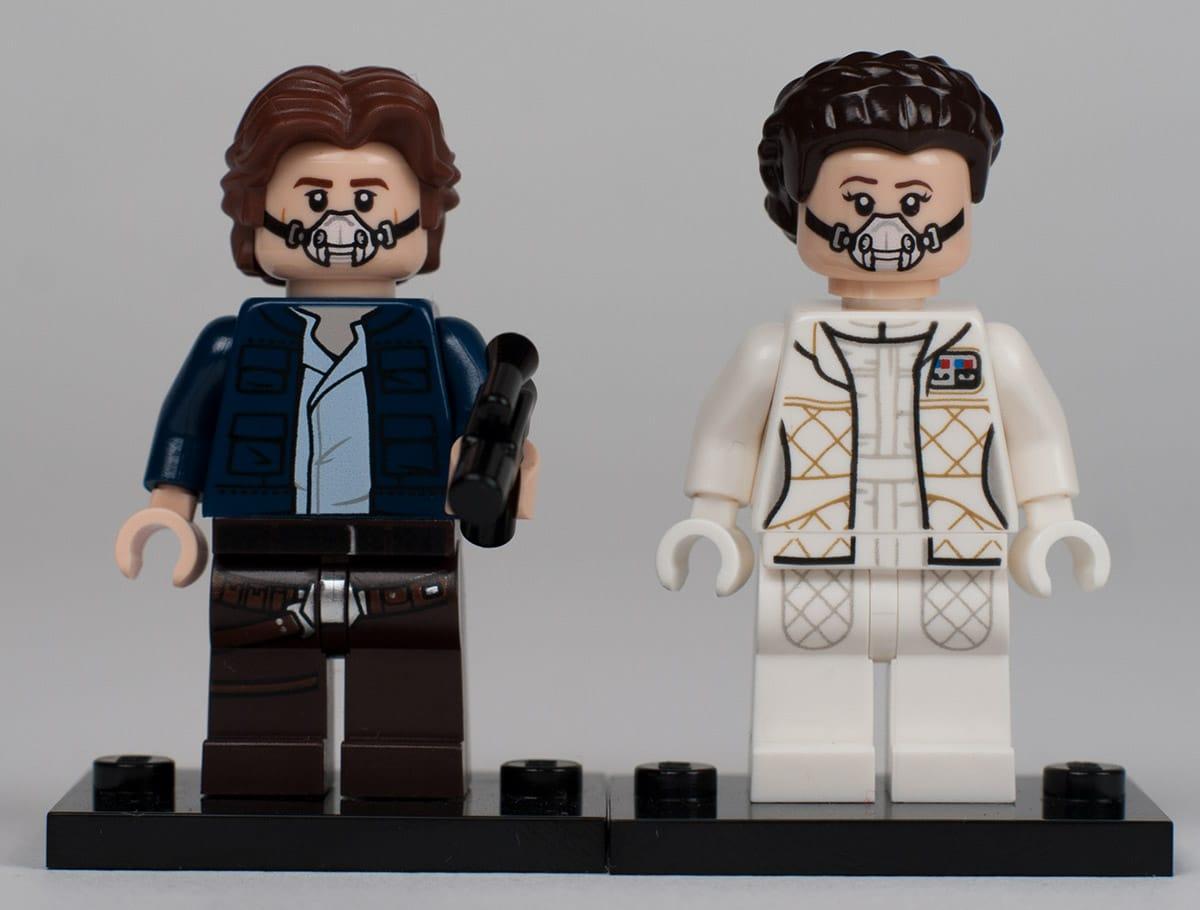 UCS Millennium Falcon Minifiguren: Han Slo und Leia Organa mit Gasmasken