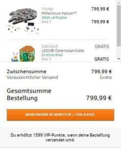 LEGO Online Shop Screenshot: Doppelte VIP Punkte beim UCS Millennium Falcon