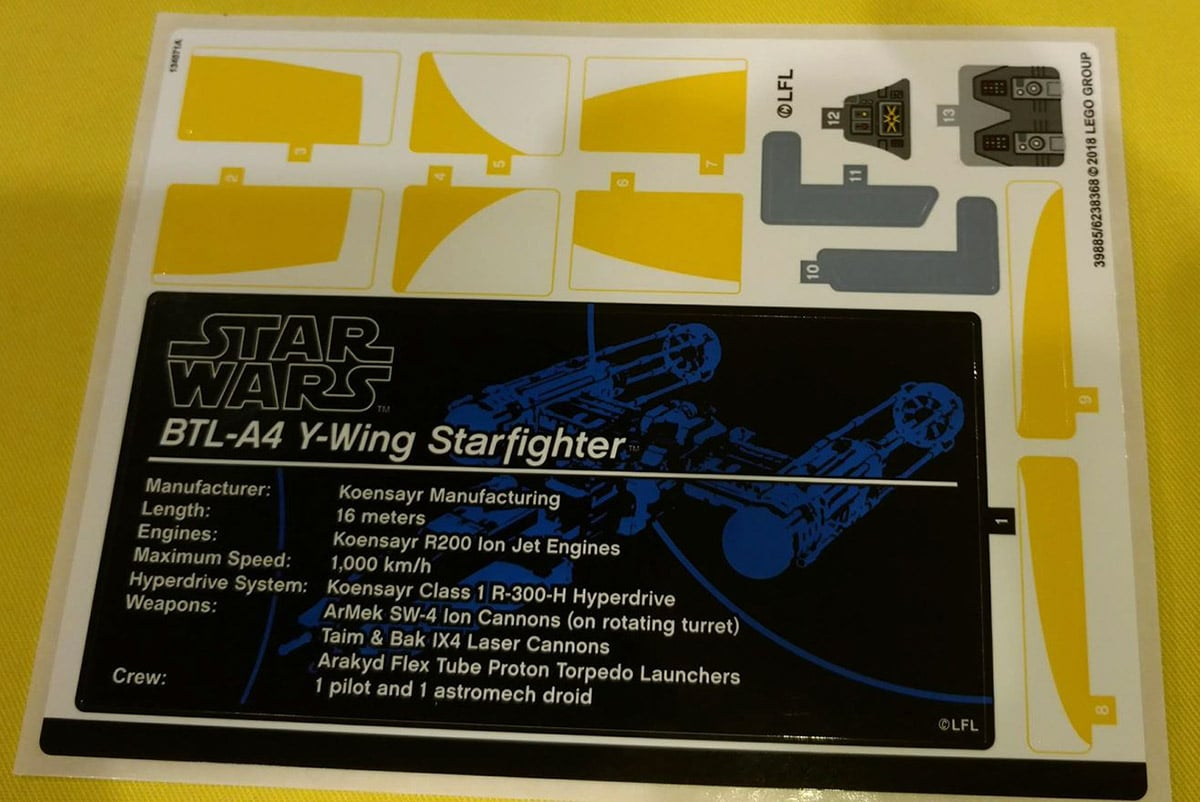 LEGO 75181 Sticker Sheet