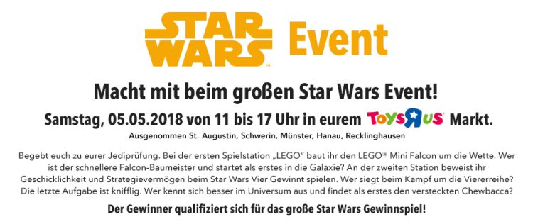 "LEGO May The 4th 2018 Event bei Toys""R""Us Daten"