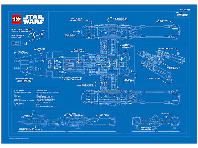 LEGO Y-Wing Blueprint VIP Poster