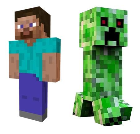 Minecraft Steve und Creeper