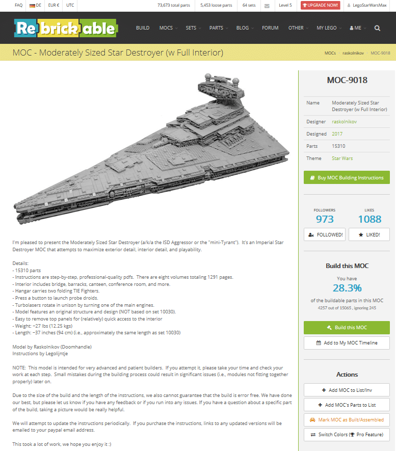 LEGO MOC bei Rebrickable: Star Destroyer