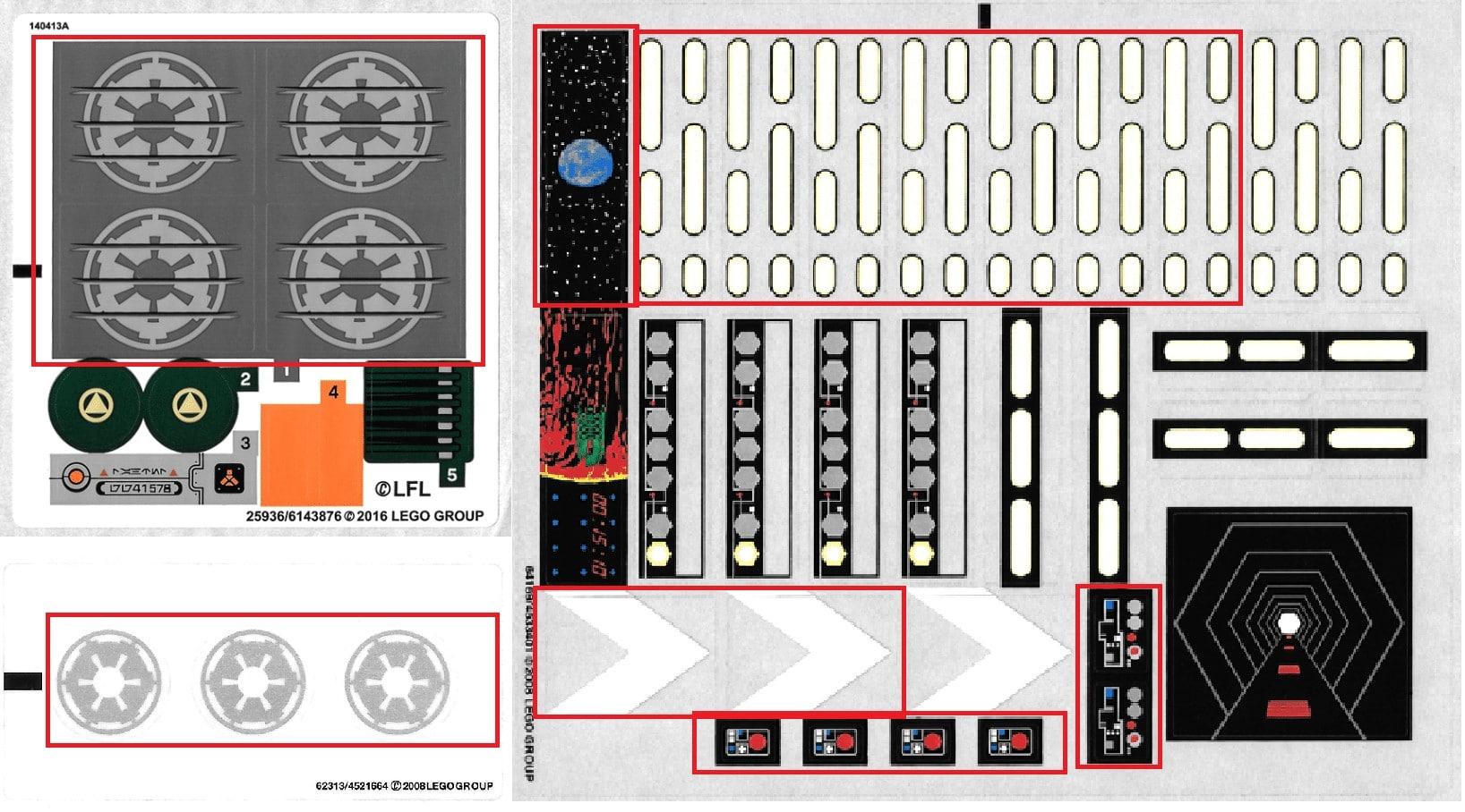 Stickersheets für den MOC des Imperial Star Destroyers