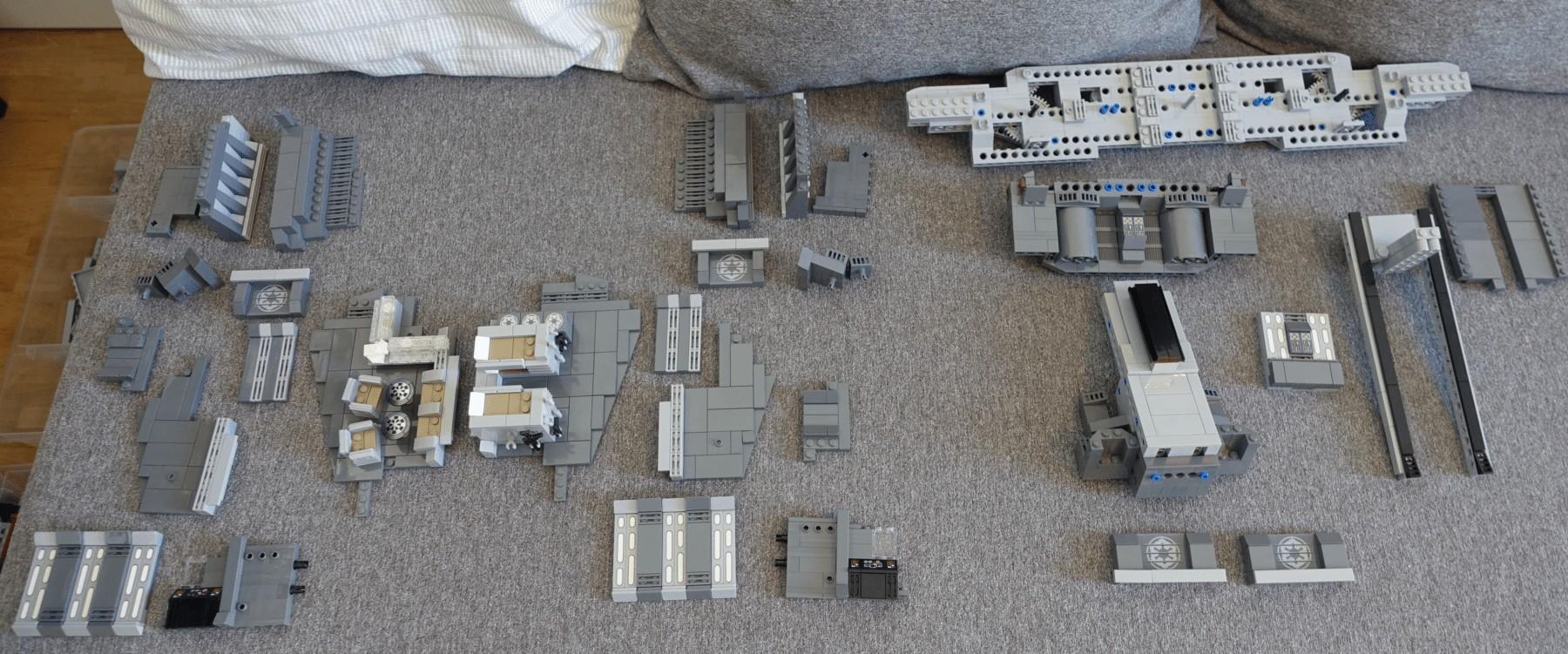 Übersicht der Elemente des Interieur für den LEGO MOC des Imperial Star Destroyers