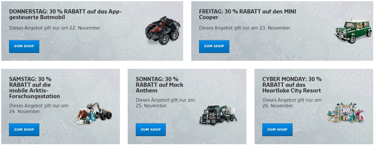 LEGO Black Friday Tagesangebote