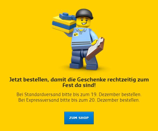 LEGO Online Shop Bestellfrist Weihnachten 2018