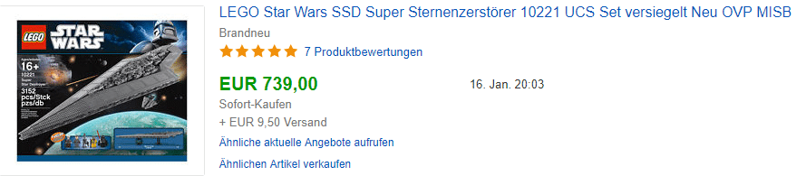 LEGO 10221 Aktueller Preis: Verkauft für 739,- Euro