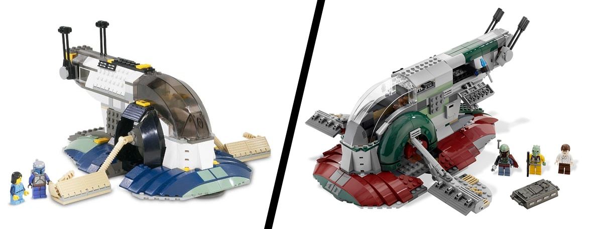 LEGO Jango Fetts Slave I (7153, links) vs Boba Fetts Slave I (8097, rechts)