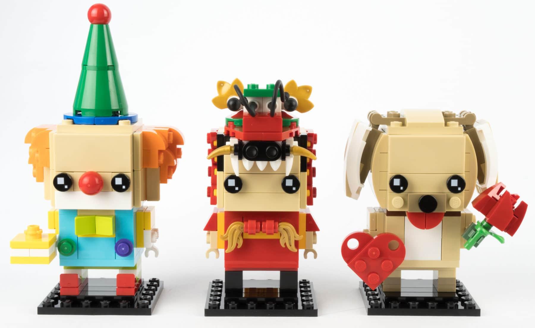 Clown, Drachentanz-Mann und Valentinstags-Hund