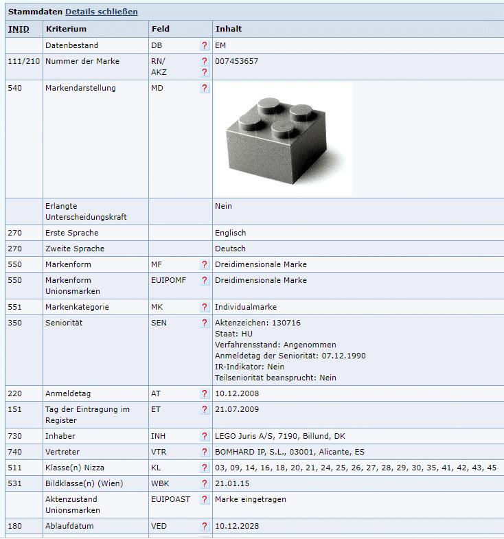 LEGO-Stein Marke