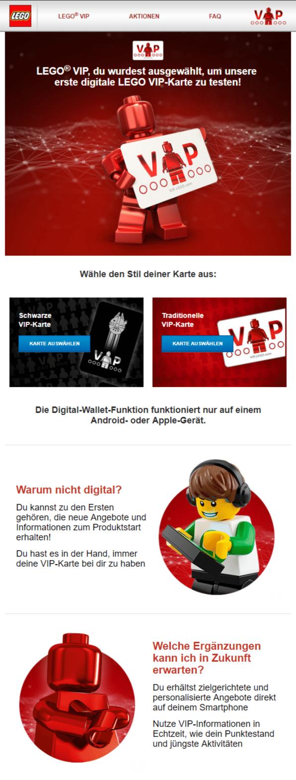 LEGO digitale VIP-Karte