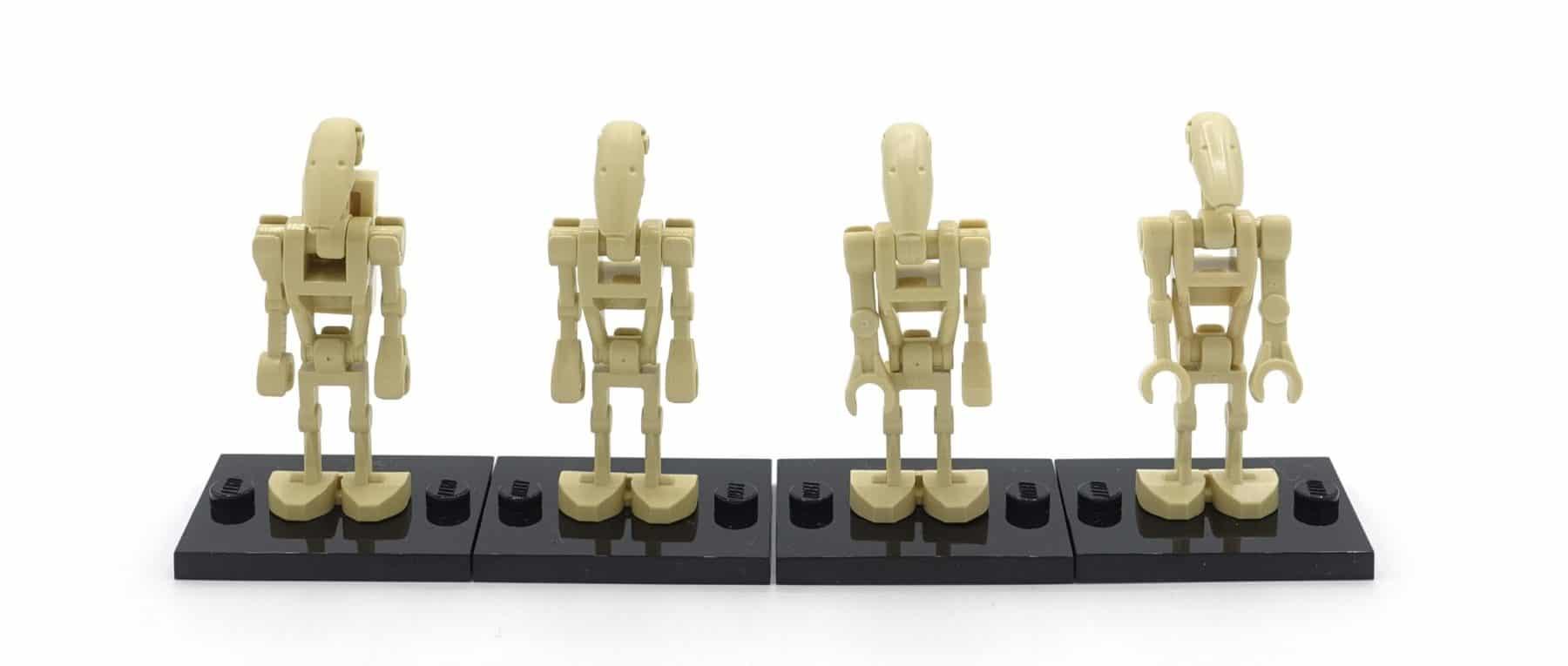 Vier unterschiedliche LEGO Star Wars Droiden sw0001a-d
