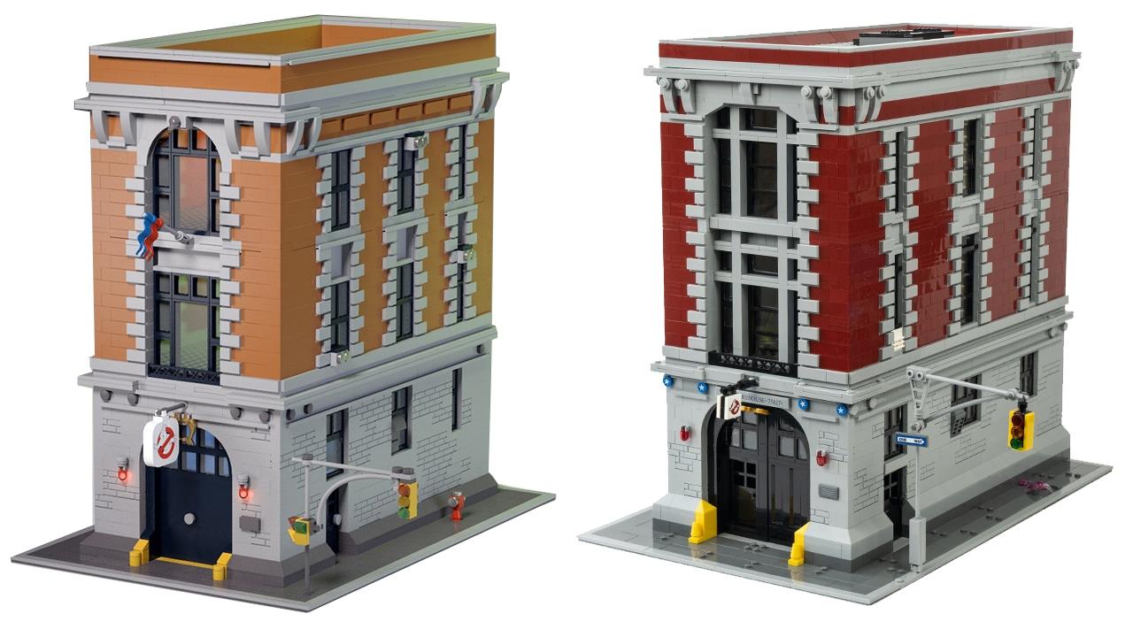 LEGO Ghostbusters Haus: Ideas Entwurf (links) vs. offizielles Set (rechts)
