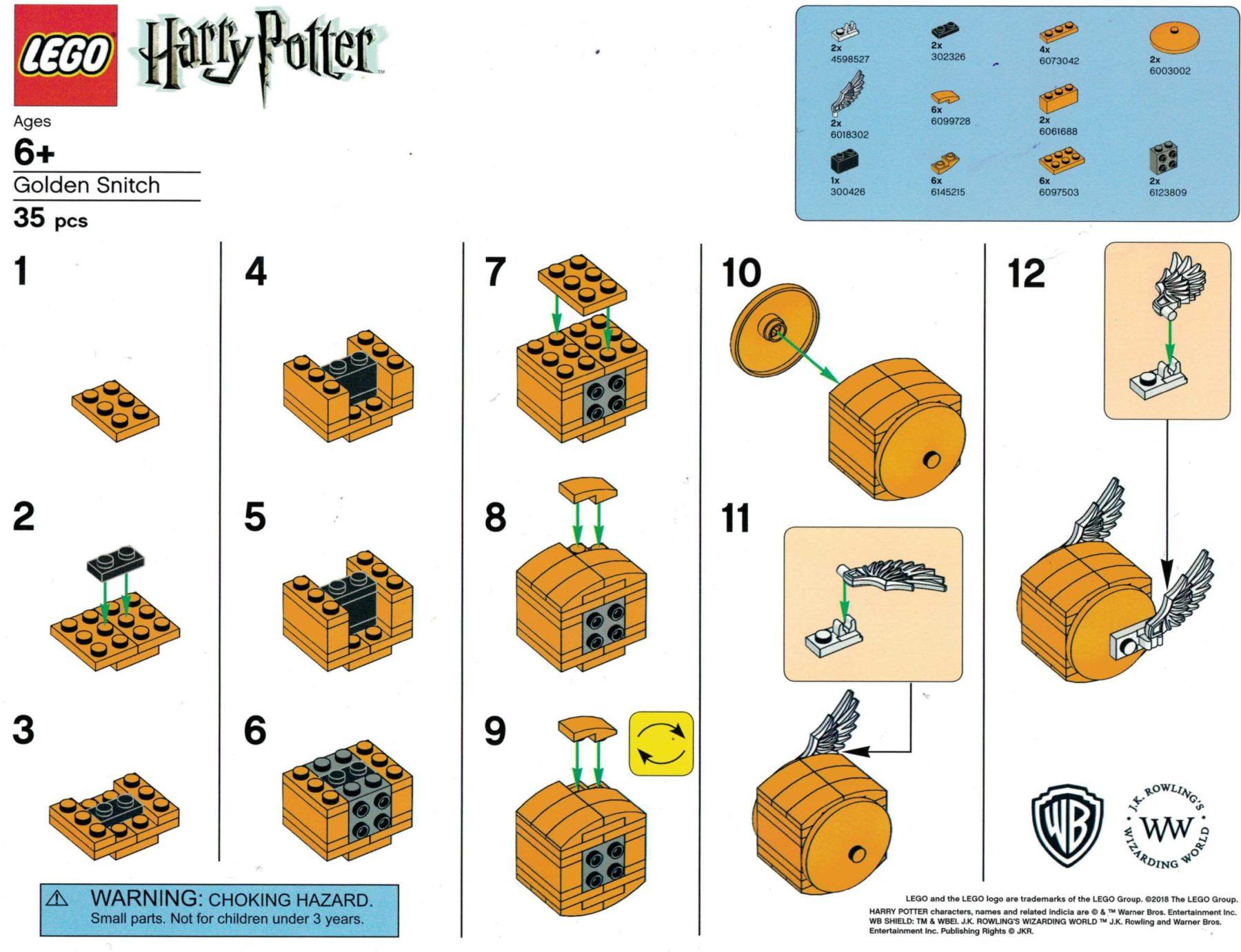 LEGO Harry Potter Goldener Schnatz Anleitung