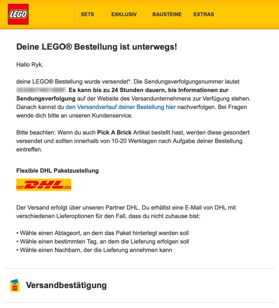 LEGO Bestellbestätigung