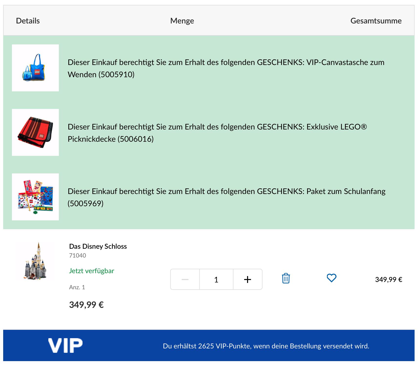 LEGO Online Shop Beispielbestellung