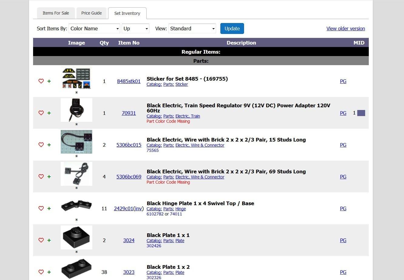 Screenshot von Bricklink zum LEGO Ersatzteile nachkaufen
