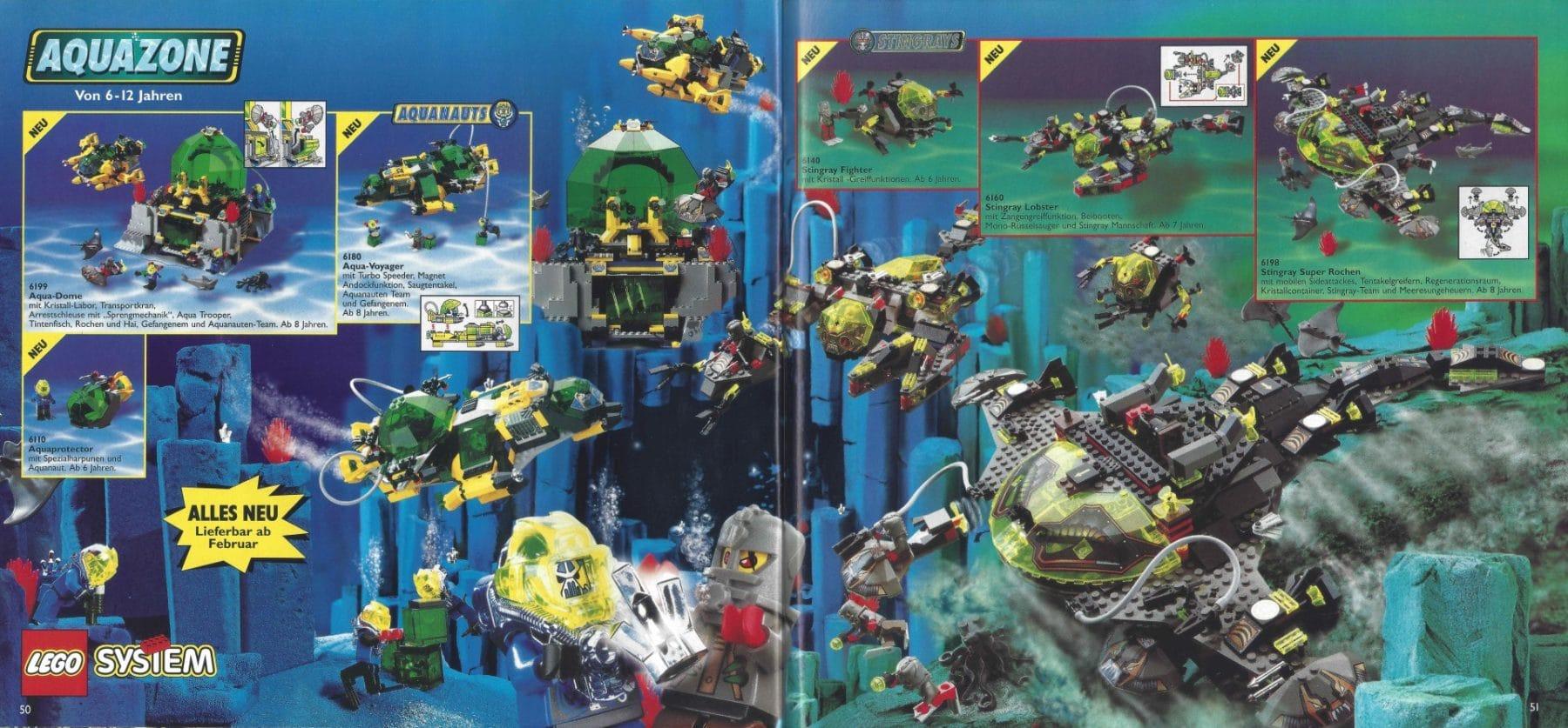 Stingrays & neue Aquanauts (bzw. Hydronauts) im deutschen Katalog von 1998