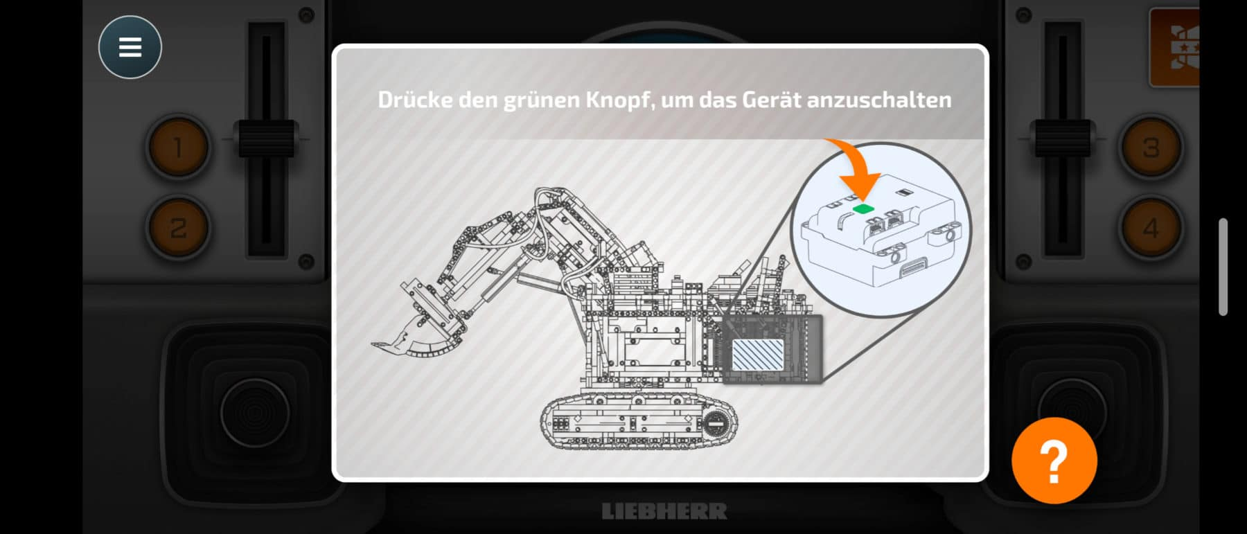 LEGO Technic 42100 Liebherr R 9800: Die App fordert zum aktivieren des oberen Hubs auf