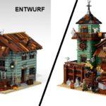 Der Angelladen kriegte von LEGO einen grünen Anstrich, Minifiguren und die äußere Ladenausstattung verpasst.