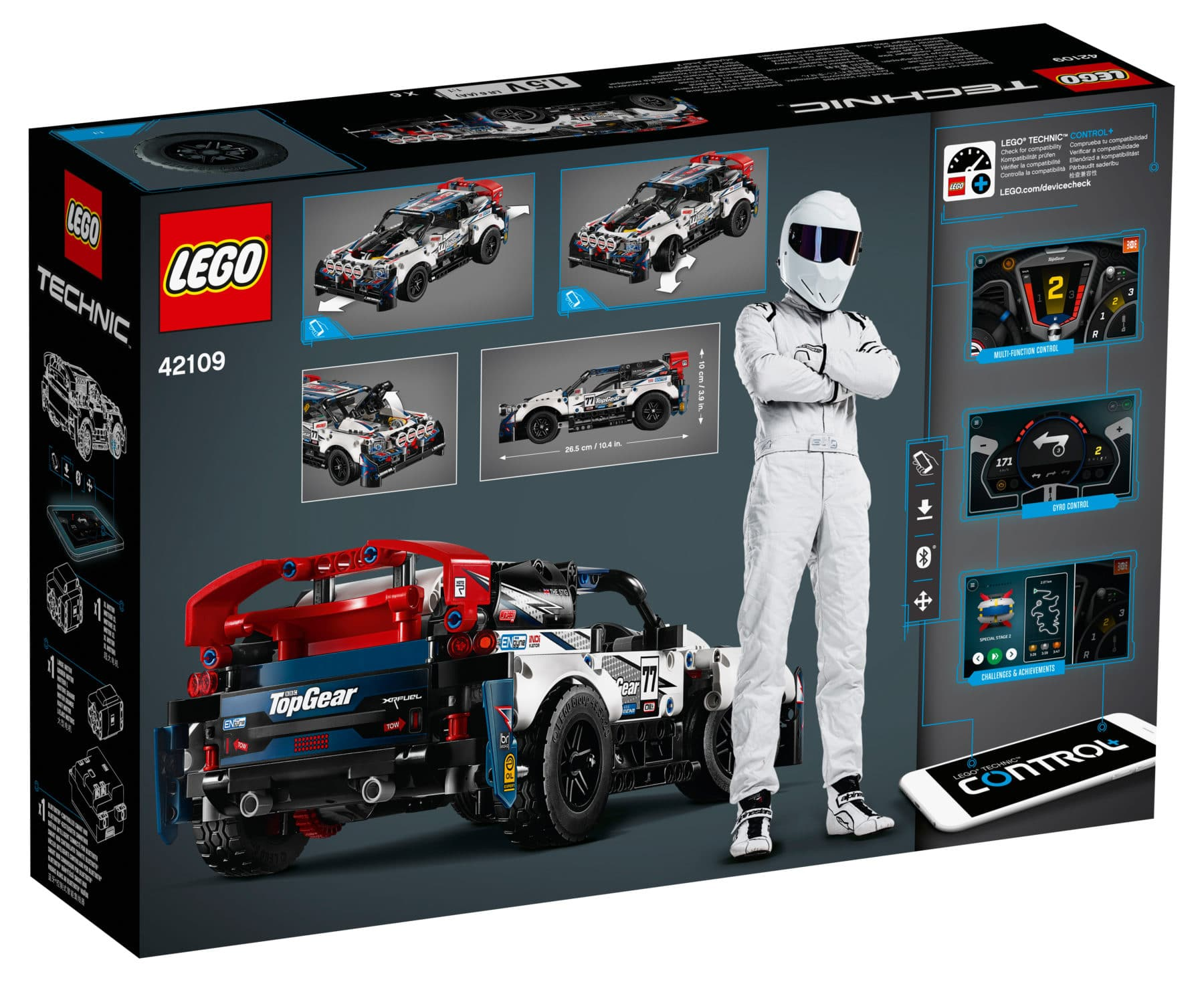 LEGO Technic 42109 Top Gear Rally Car Box Rückseite