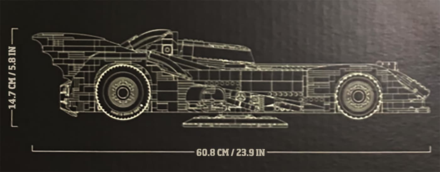 LEGO 76139 Batmobil: Maße des Fahrzeuges