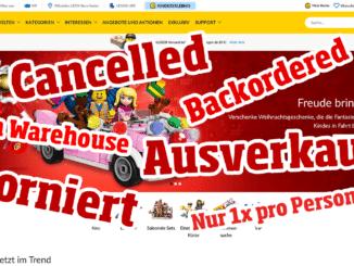 Probleme im LEGO Online Shop: Cancelled, Ausverkauft, Storniert
