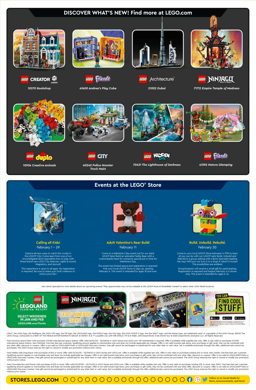 LEGO Store Flyer Februar 2020 Rückseite