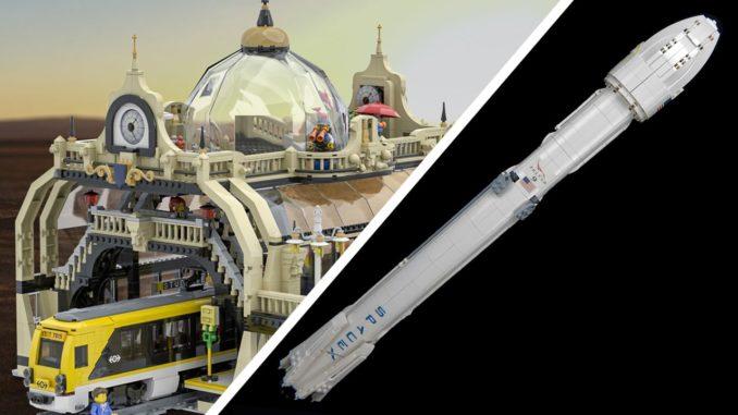 Zwei LEGO Ideas Entwürfe: Studgate und Falcon 9