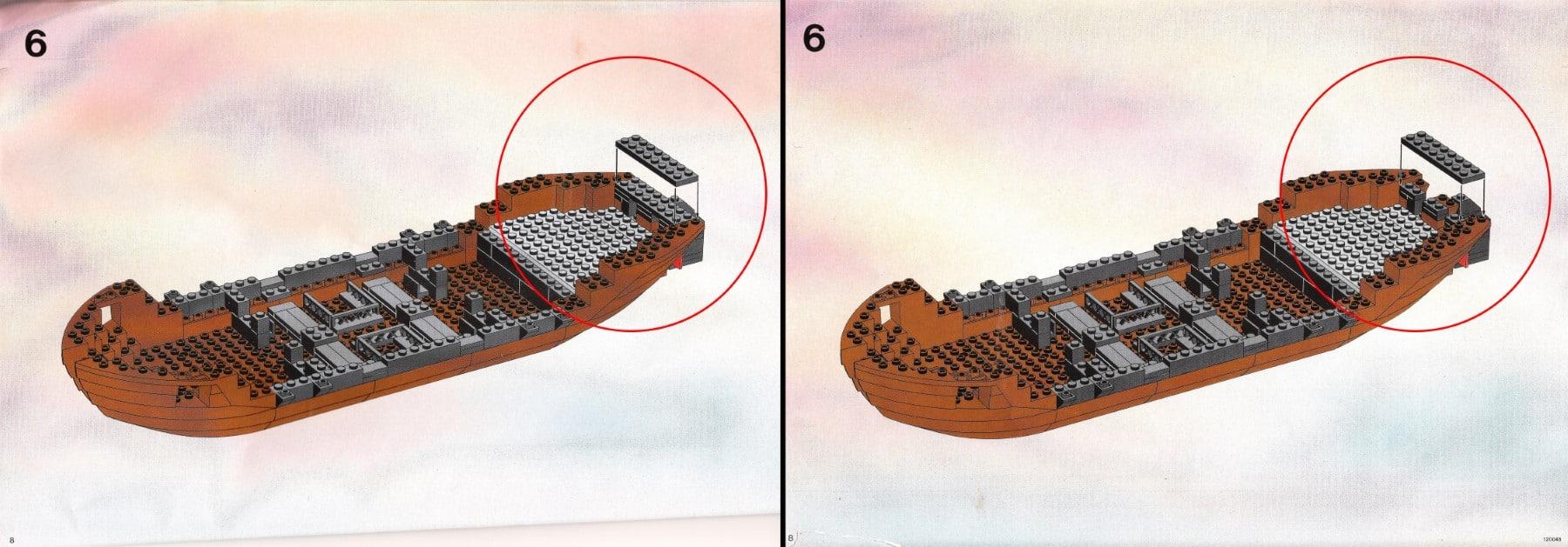 Links: Fehlerhafter Schritt in der ursprünglichen Anleitung / Rechts: Korrektur