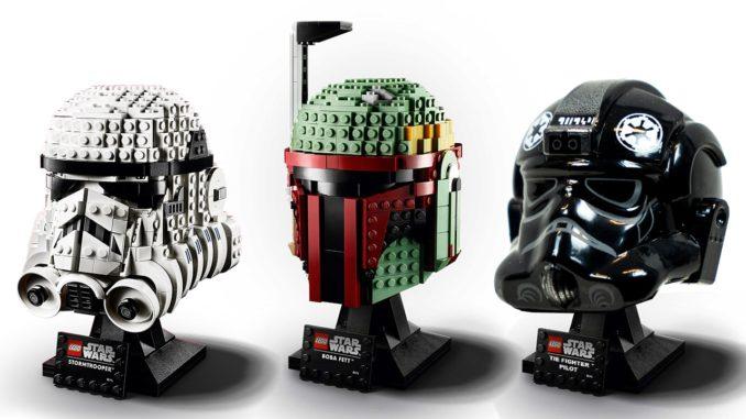 Achtung, Photoshop: Die beiden bekannten Büsten und rechts ein Mockup des LEGO 75274 TIE Fighter Piloten Helms