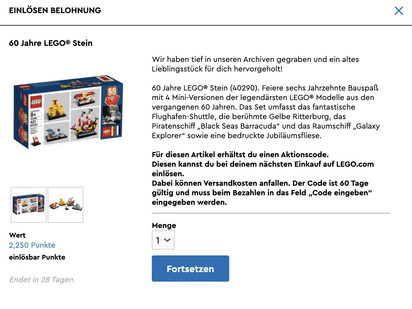 LEGO 40290 60 Jahre LEGO Stein Praemie