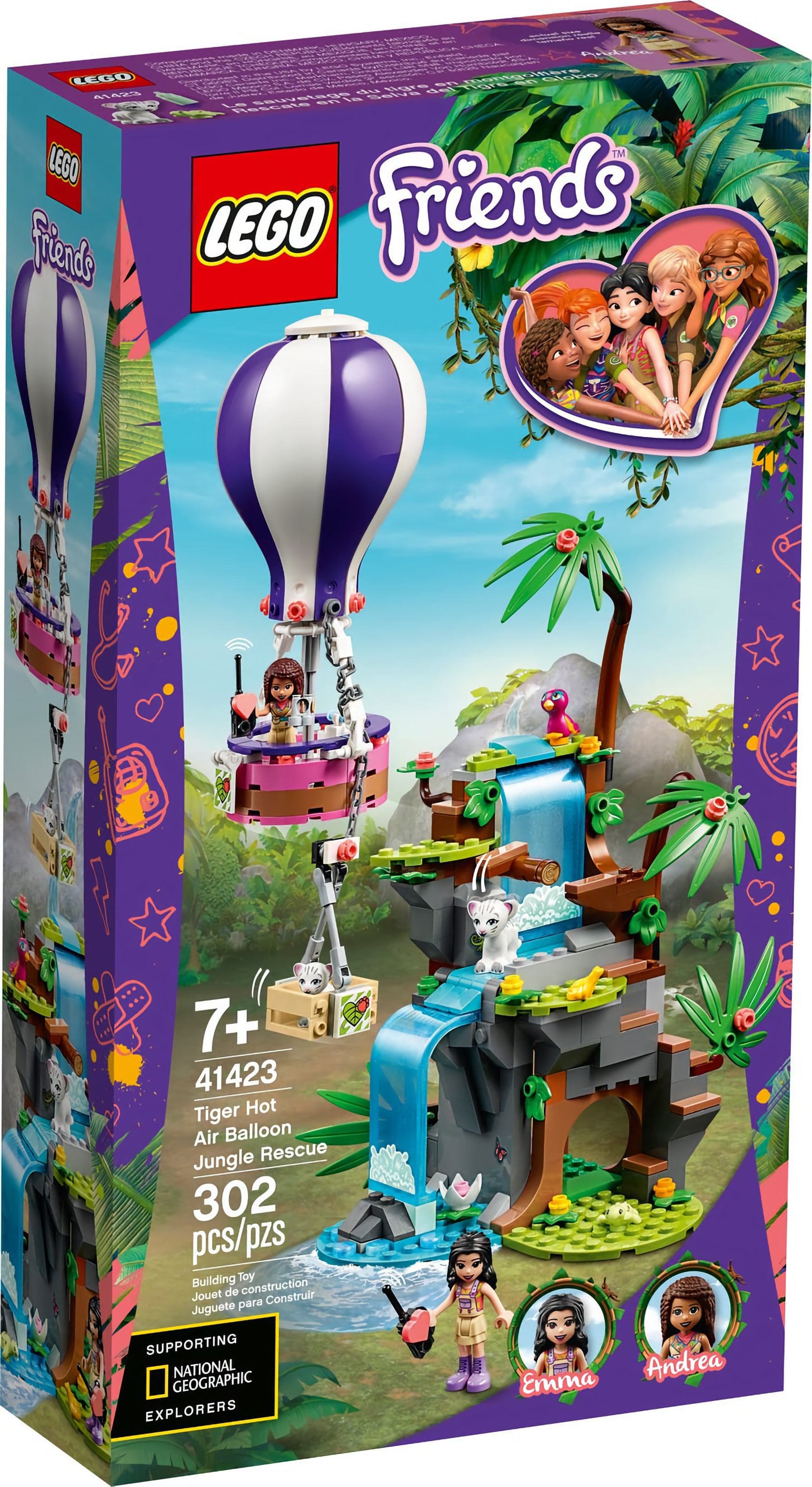 LEGO Friends 41423 Tigerrettung Im Heißluftballon