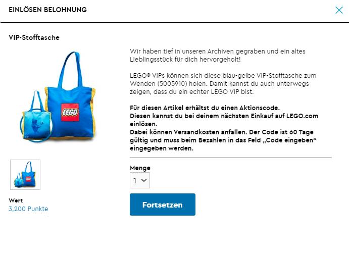 LEGO VIP Canvastasche Praemie
