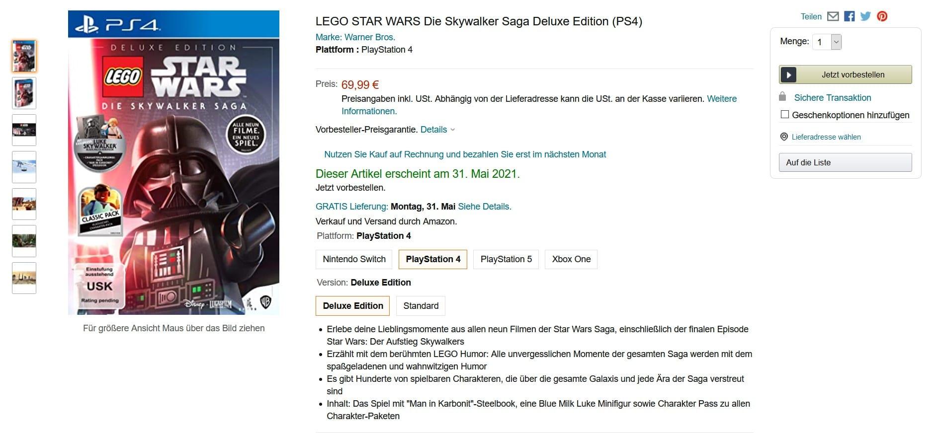 LEGO Star Wars Skywalker Saga Amazon Vorbestellung