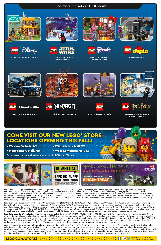 LEGO Store Flyer Oktober 2020 USA (Rückseite)