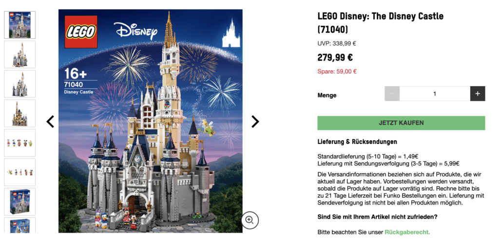 LEGO 71040 Disney Schloss Zavvi Black Friday