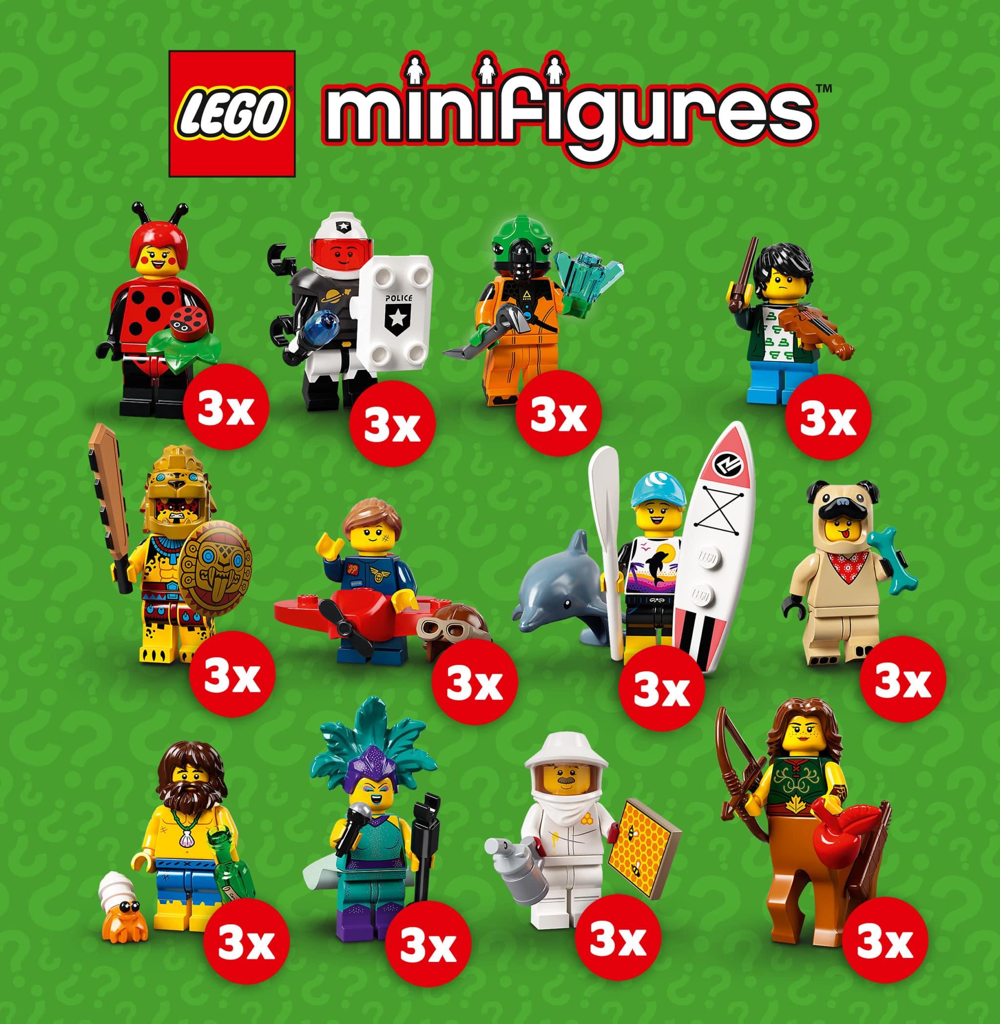 LEGO 71029 Minifiguren Serie 21 Verteilung 3x