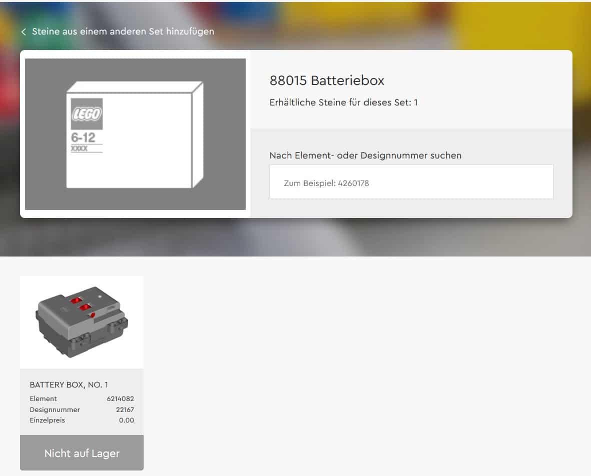 LEGO 88015 Batteriebox Inhalt