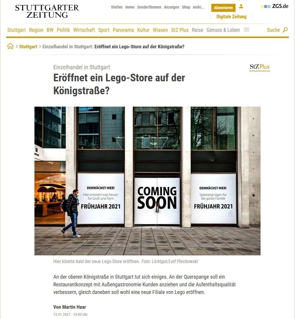 Stuttgarter Zeitung Spekulation Eröffnung LEGO Store