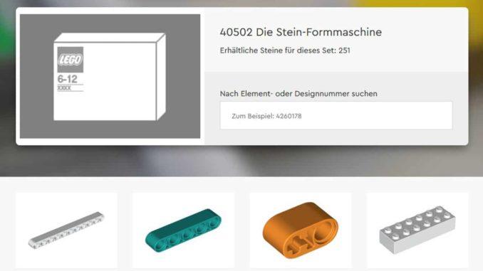LEGO 40502 Stein Formmaschine Sut Titel