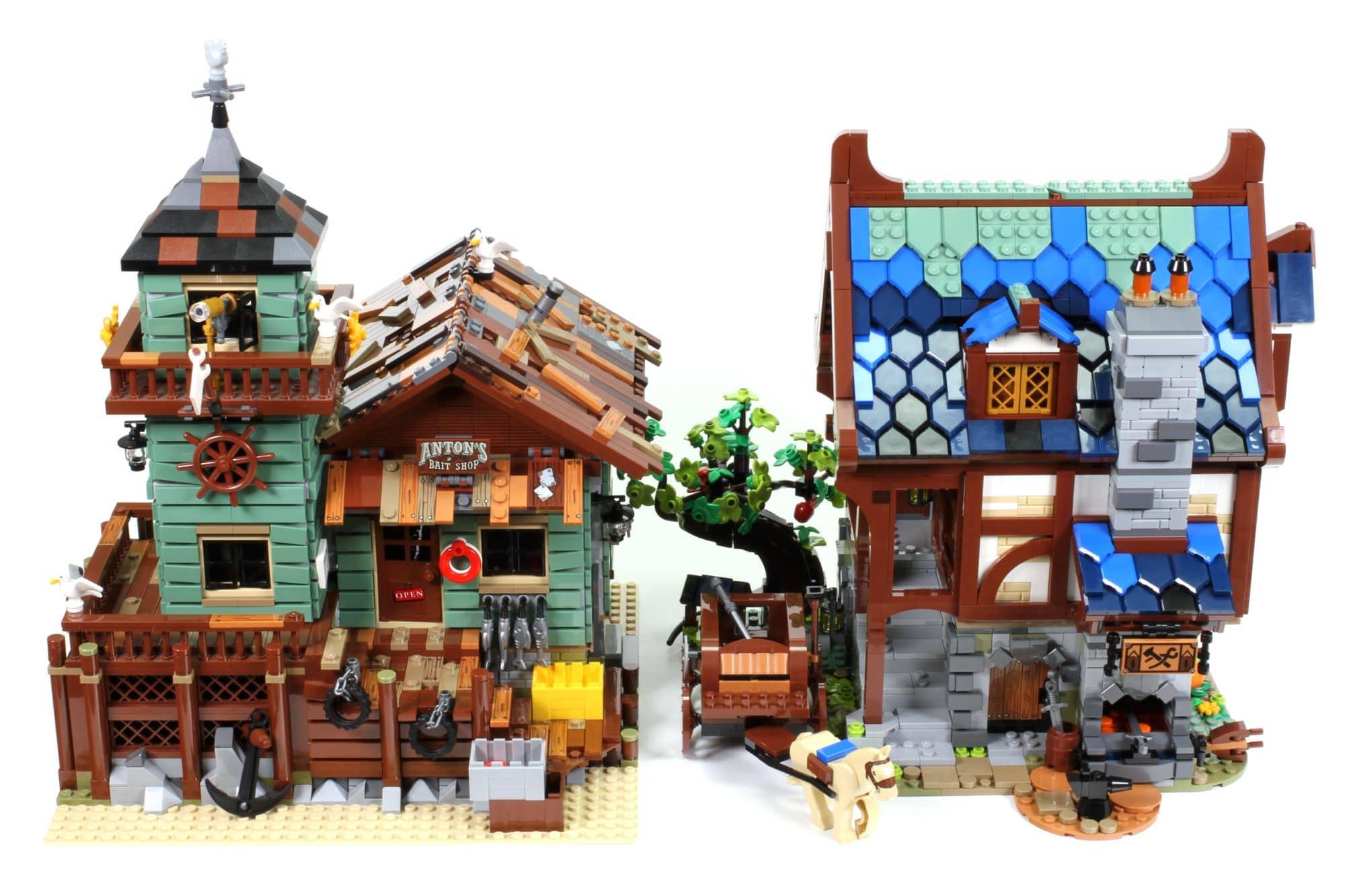 LEGO Ideas 21325 Mittelalterliche Schmiede Vergleich Angelladen 1