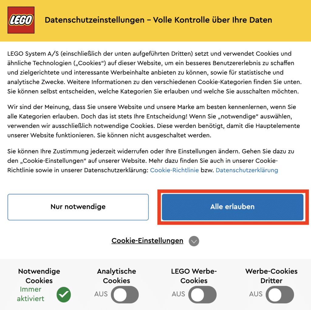 LEGO Online Shop Cookie Abfrage 2