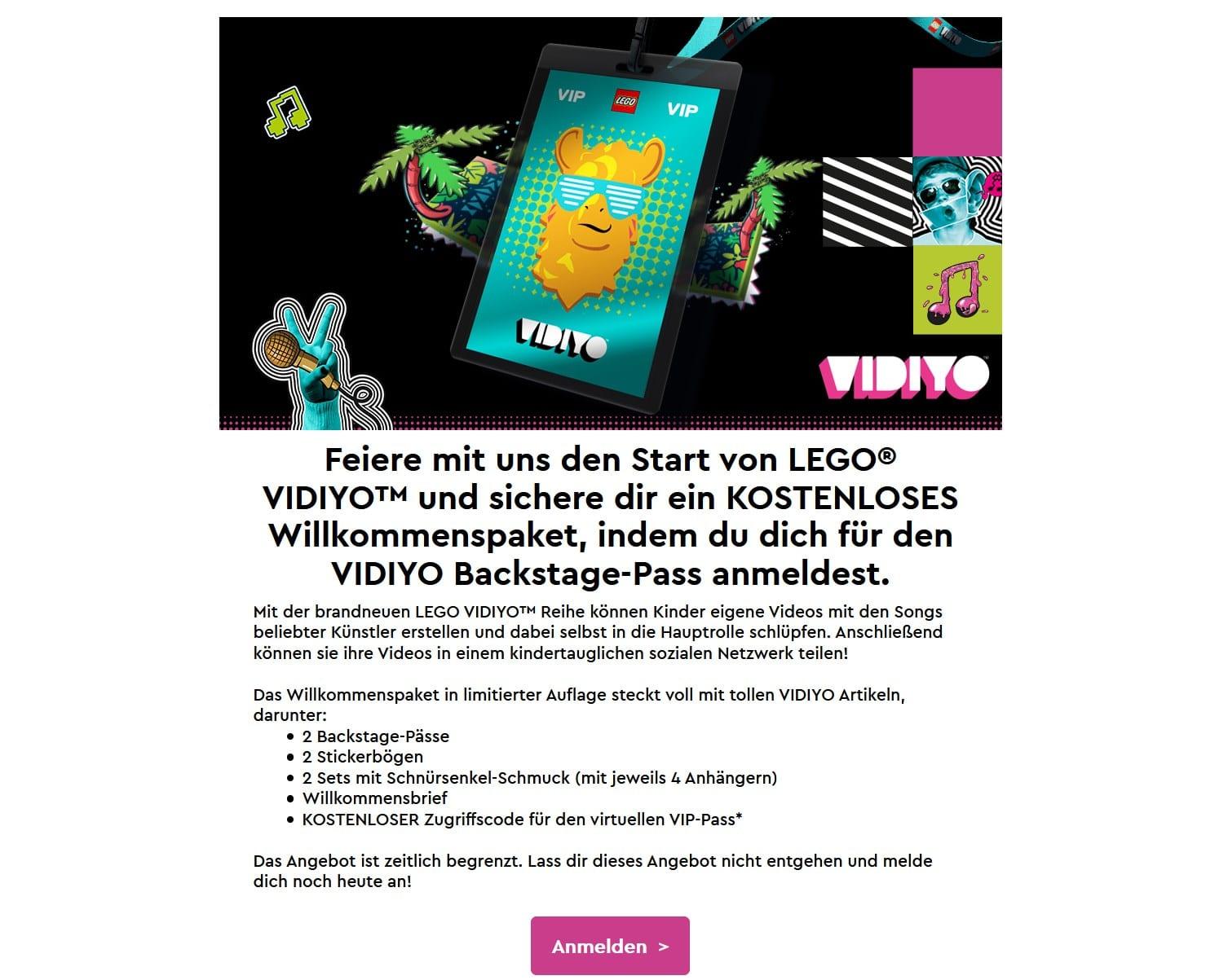 LEGO Vidiyo Willkommenspaket Vip Newsletter 2