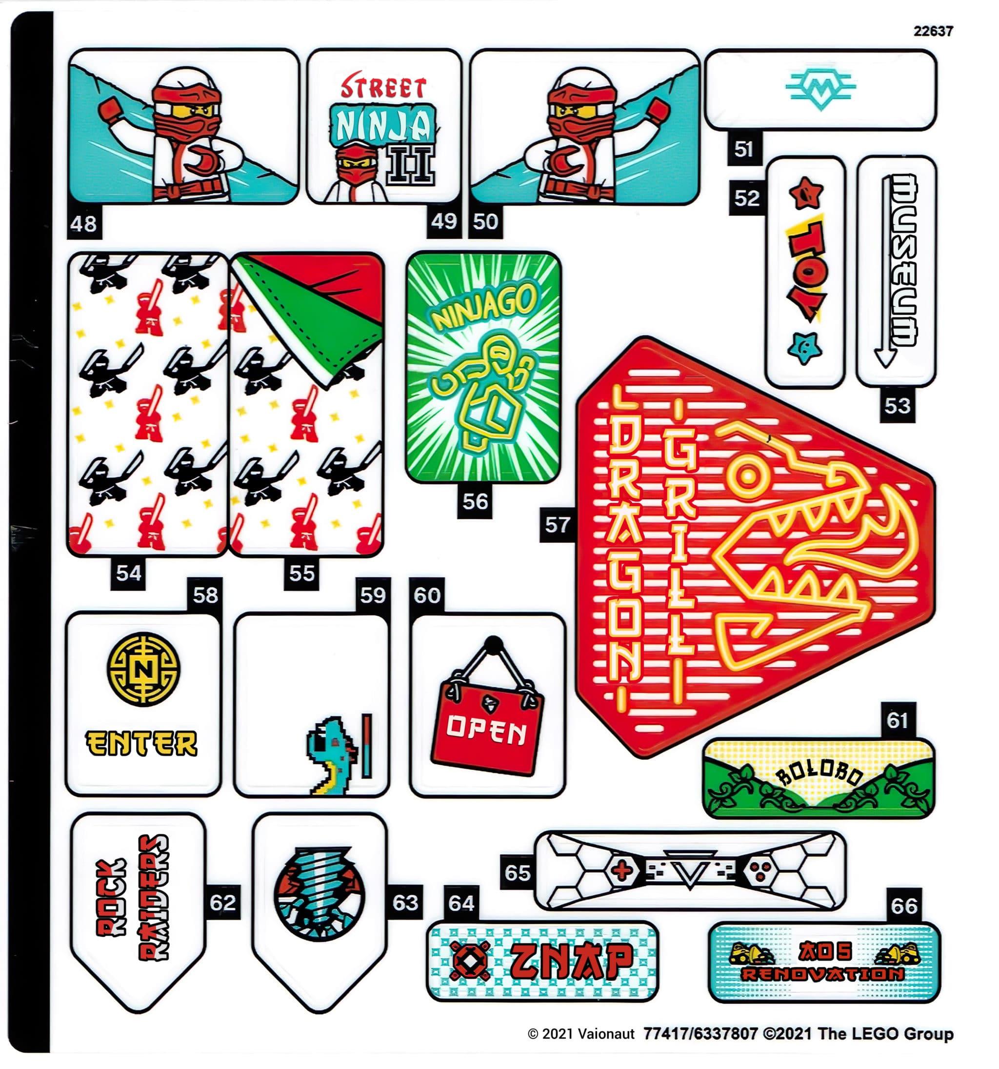 LEGO 71741 Ninjago City Gardens Sticker 3 Uebersetzung