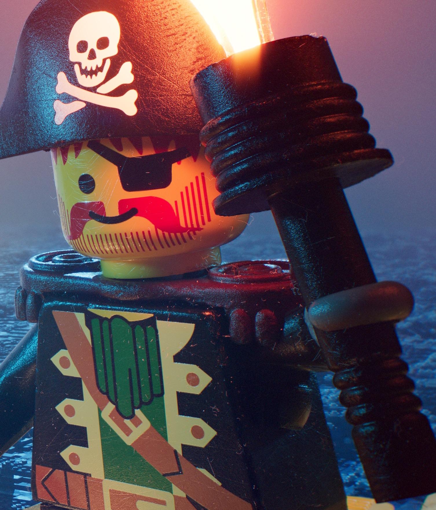 LEGO 90er Piraten Poster Fackel