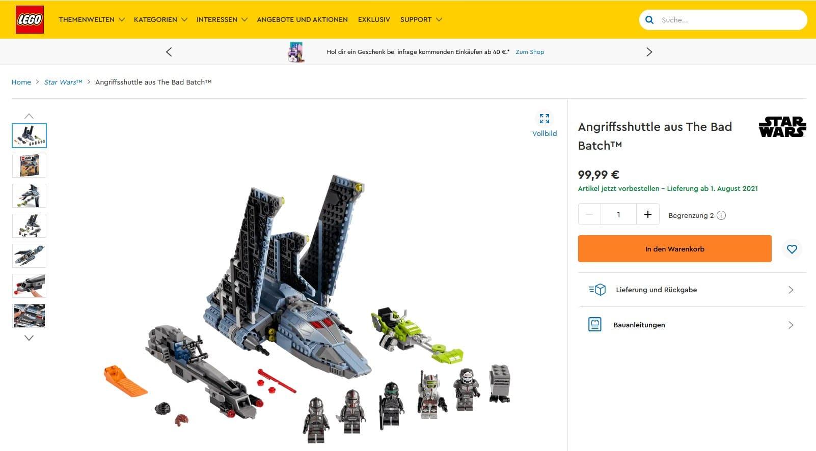 LEGO 75314 Bad Batch Shuttle Vorbestellung